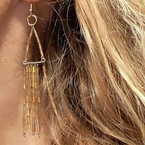 Unique Hand-Made Gold-Beaded Earrings